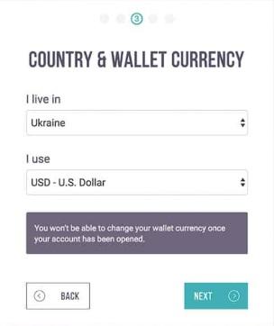 Выбор валюты на Skrill при регистрации
