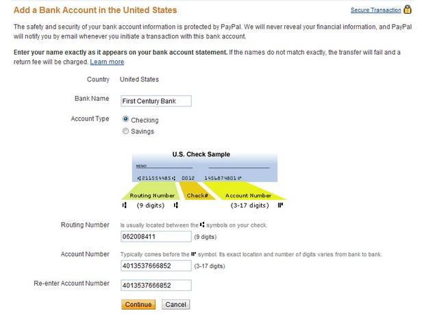 Привязка счета в аккаунте PayPal