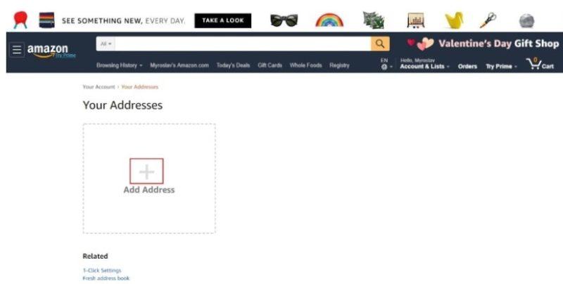 Добавление адреса на Амазон