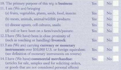 пункты 10-14 таможенной декларации