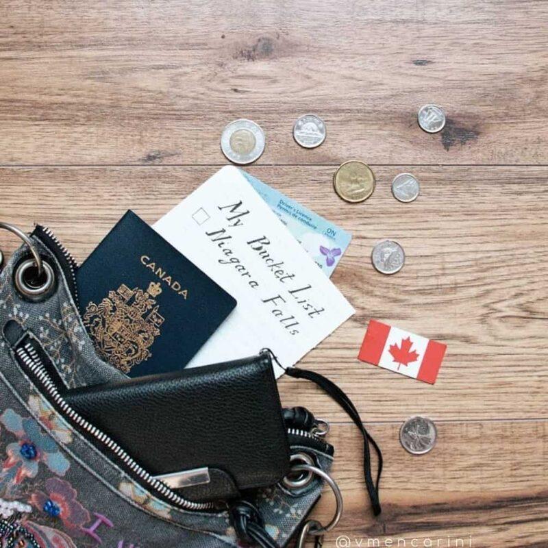 канадский паспорт в сумке